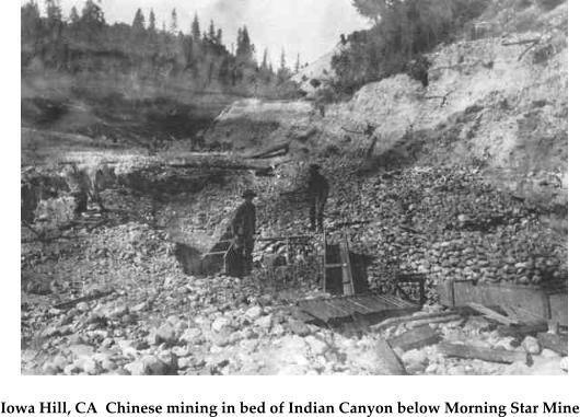 Iowa Hill, CA  Chinese mining in bed of Indian Canyon below Morning Star Mine