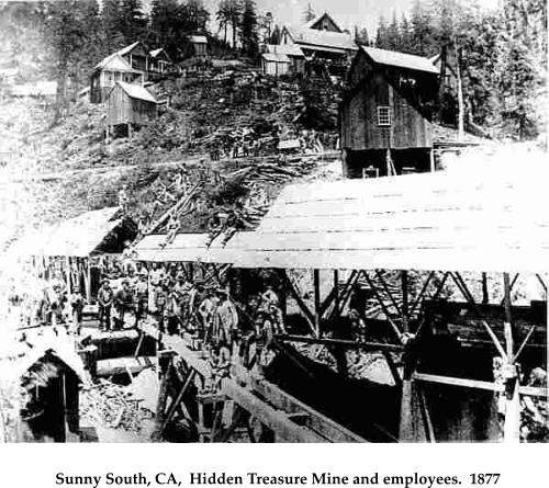 Sunny South, CA,  Hidden Treasure Mine and employees.  1877