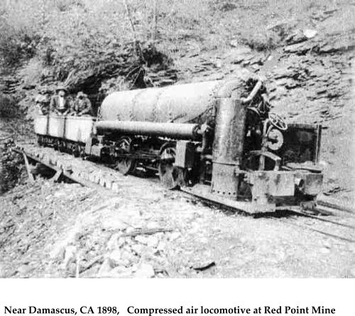 Near Damascus, CA 1898,   Compressed air locomotive at Red Point Mine